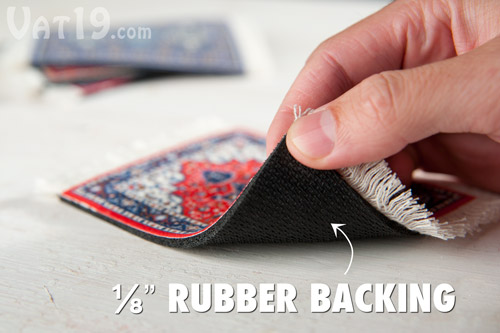 CoasterRugs feature an eight-inch rubber backing.