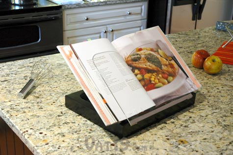 hold your favorite cookbooks with the umbra prop cookbook stand with storage