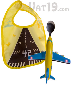 Jetbib Illuminated Baby Bib Features Airplane Spoon And