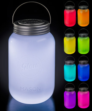 mason jar led lamp multi color glowing jar
