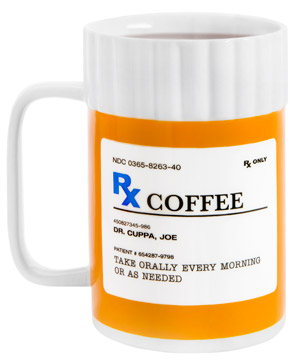 rx bottle coffee mug caffeine addiction legitimized