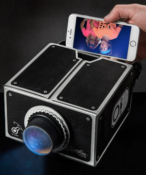 Smartphone projector transform your mobile device into a for Mirror mini projector