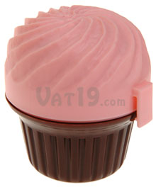 Cupcase Cupcake Holder with pink frosting and chocolate cake bottom