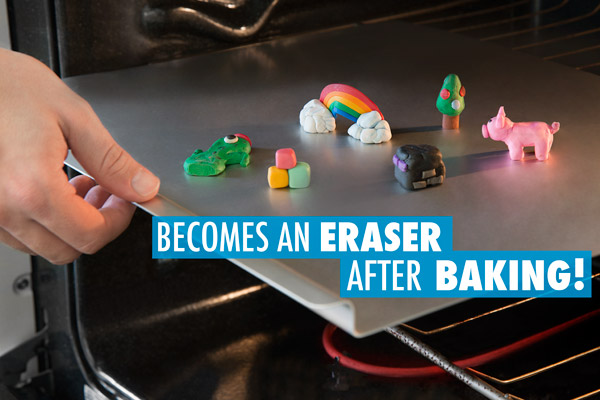 The clay sets and becomes an eraser in the oven.