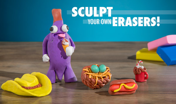 Sculptable clay that becomes usable erasers