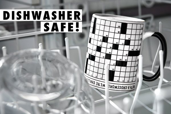 The Crossword Puzzle Mug is dishwasher safe.