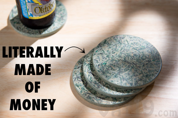 Currency Coasters Set Of 4 Coasters Made From Recycled Money