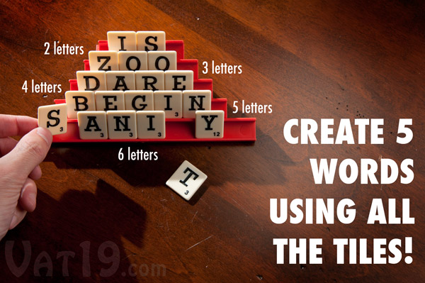 In Dabble, your goal is to create five words of varying lengths using your twenty tiles.