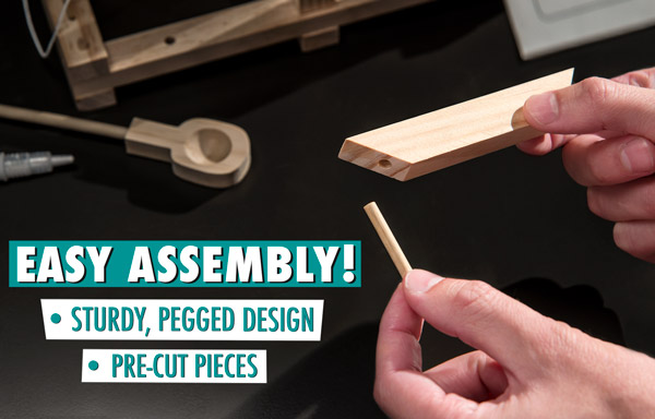 Fun and easy assembly with pre-cut pieces and a sturdy, pegged design!
