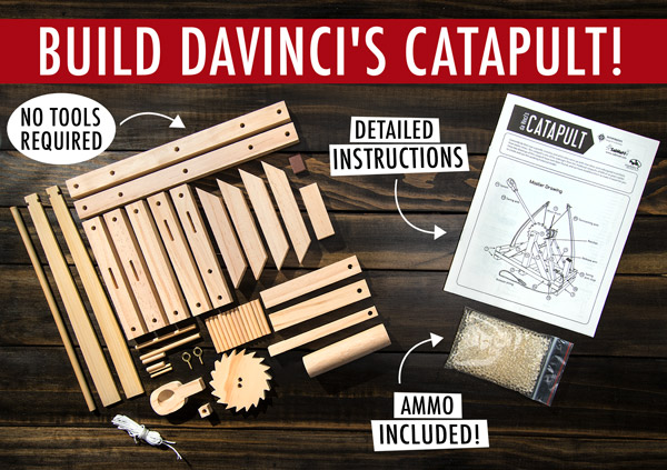 Build Da Vinci's catapult: no tools required, detailed instructions, and ammo included