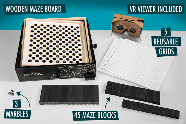 Includes wooden maze board, 45 maze blocks, 5 reusable grids, 3 marbles, and VR viewer