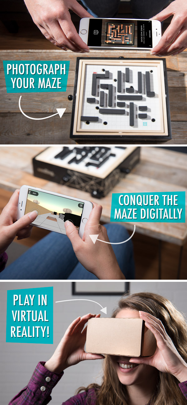 Photograph your maze, conquer the maze digitally, play in virtual reality!