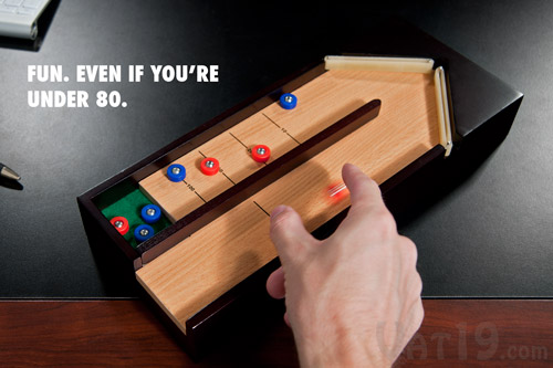 The Desktop Shuffleboard Game is the perfect gift for the desk dweller.