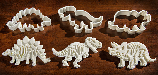 Each set of Dig-Ins includes three cookie cutters and three stampers.