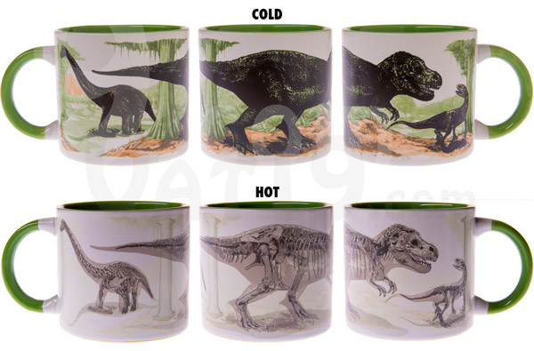 Simply add a hot beverage to watch the dinosaurs go extinct before your eyes.