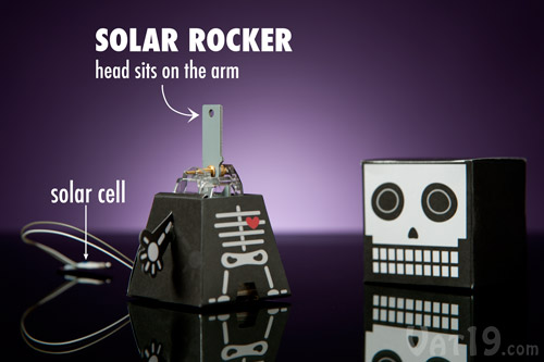 The solar-powered rocker powers your bobblehead.