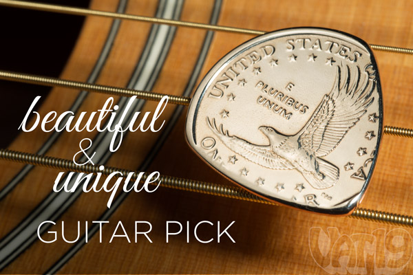 Guitar pick made from a US one dollar coin.