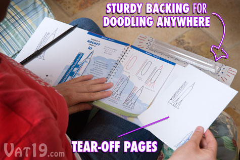 Tear-off pages allow you to save or share your doodles.
