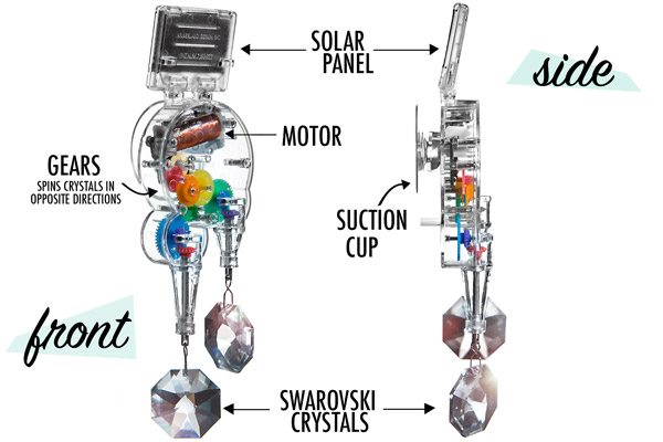 Front and side views of the solar-powered Double Rainbow Maker.
