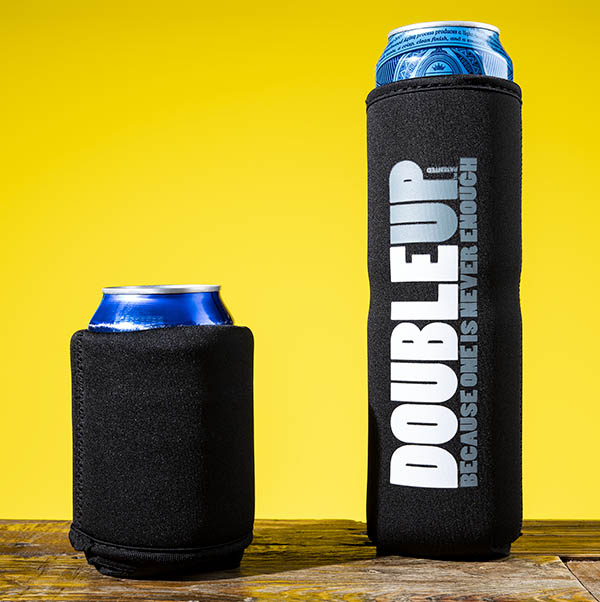 The DoubleUp Can Cooler can easily hold 1 or 2 beers.