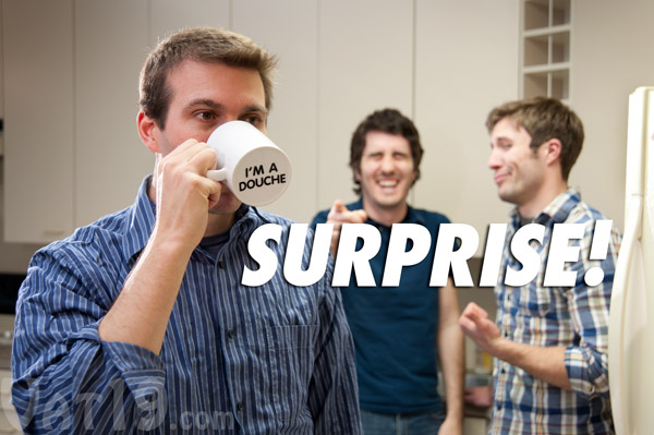 Surprise Mug - I'm a douche coffee mug is a hilarious prank coffee mug.