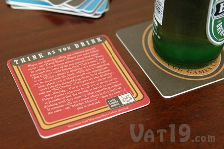 Drinking Games Beer Coasters include game rules on back.
