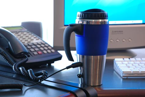 This Heated Coffee Mug can plug into any USB port.