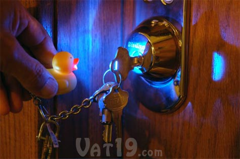 Duckie Keyring lights up locks at night.