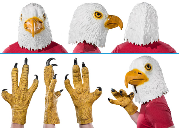 Profile of eagle mask and talons.