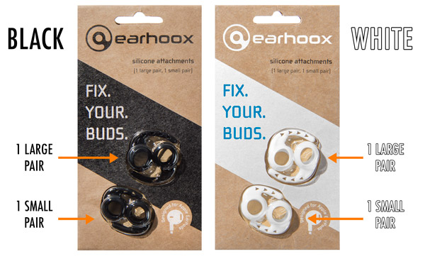Earhoox come in white or black, and each package includes a small and large pair.