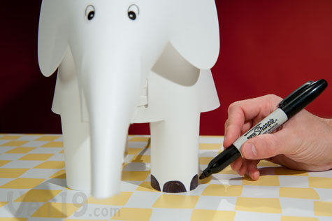Children Can Add Their Own Personal Touch To The DIY Elephant Lamp By Drawing On It