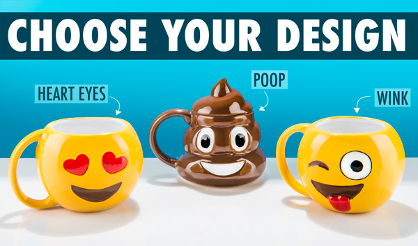 Heart eyes, wink, and poop emoji mugs