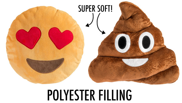 Super-soft emoji pillows with polyester filling!