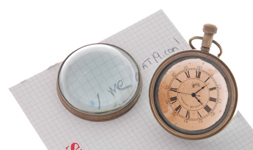Eye of Time clock has a removable front face magnifying glass