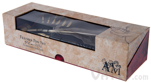 The Feather Pen Set comes packaged in an attractive gift and storage box.