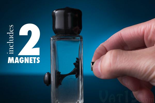 Ferrofluid in a Bottle includes two magnets.