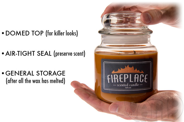 Fireplace Scented Candle in a 16 ounce apothecary jar.