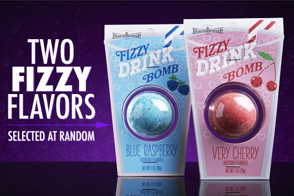 Carbonated cherry or bubbly blue raspberry!