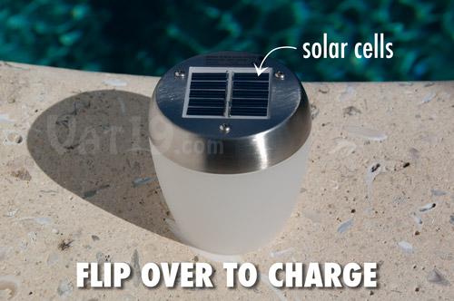 To charge, simply flip over the candle to reveal the solar cells on the bottom.