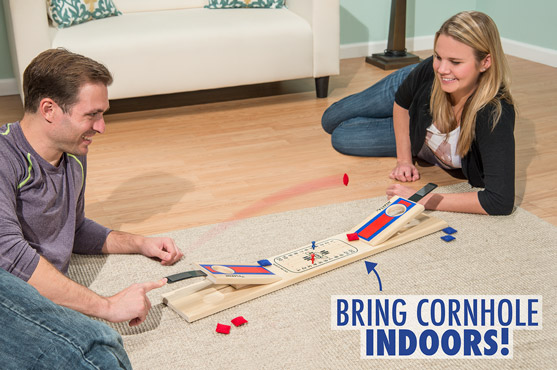 Flippin' Cornhole is a much smaller version of the classic bean bag game.