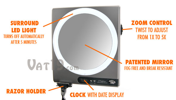 Zadro Z'Fogless Z850 Fogless Shower Mirror anatomy