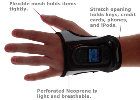 The FreeHand Workout Glove comfortably secures your keys, money, credit cards, or phone while you work out.