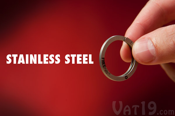 The FreeKey Keyring is made from stainless steel.
