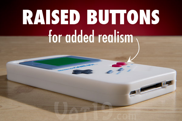 The raised buttons on the Game Boy iPhone 4 case adds to its realism.
