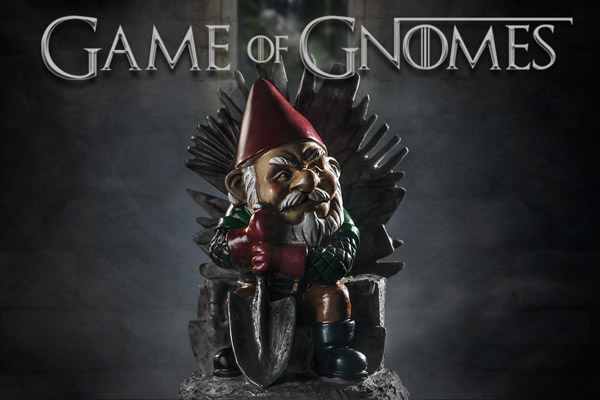 A gnome garden ornament that spoofs Game of Thrones