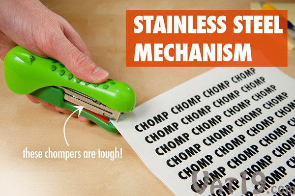 Gator Stapler features a stainless steel mechanism