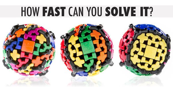 Three images of the Gear Ball in various stages of being solved.