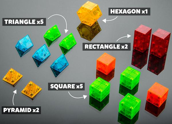 Pyramid x2, Triangle x5, Square x5, Rectangle x2, Hexagon x1