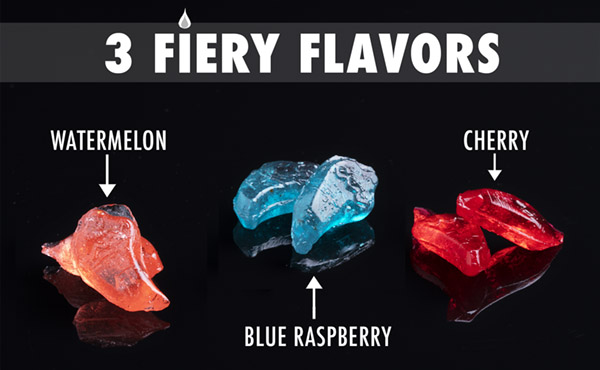 3 fiery flavors: watermelon, cherry, and blue raspberry