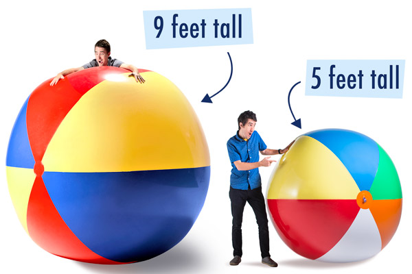 5-foot-tall & 9-foot-tall beachballs.